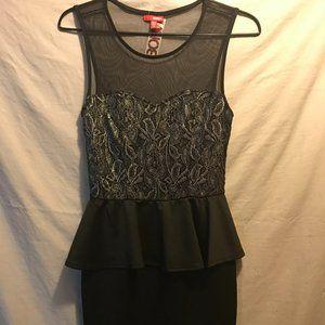 Black Mix Sheer/Lace Peplum Dress - New